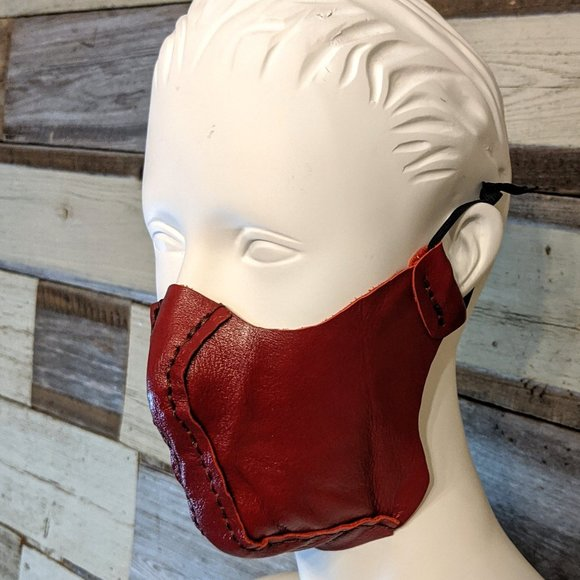Hand Crafted Other - Red Leather Hand Stitched Face Mask NWT
